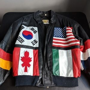 Vintage Phases Black Leather Flags Jacket
